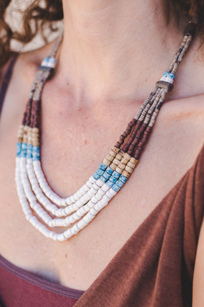 4 Strips - Clay Beads Necklace - Wild Matter Arts