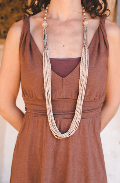 Cream Long Stripe Clay Beads Necklace - Wild Matter Arts