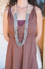 Grey long strips - Clay Beads Necklace - Wild Matter Arts