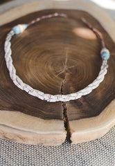 Cream Braided Strips - Clay Beads Necklace - Wild Matter Arts