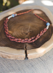 Earth Brown braided strips - Clay Beads Necklace - Wild Matter Arts