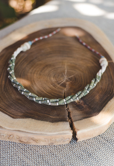 3 braided strips - Clay Beads Necklace - Wild Matter Arts