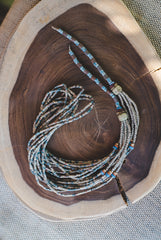 Grey Blue long strips - Clay Beads Necklace - Wild Matter Arts