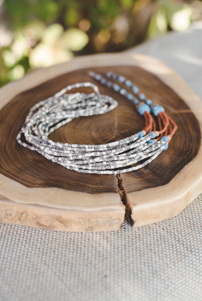 Earth Brown long strips - Clay Beads Necklace - Wild Matter Arts