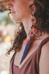 Shipbo Guacamaya Natural Feather Exstra Long Earings - Wild Matter Arts