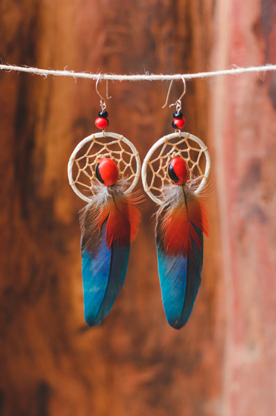 Shipbo Guacamaya Natural Feather Earings - Wild Matter Arts