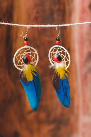 Shipbo Guacamaya Natural Feather Earings