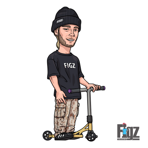 Figz Stickers and merchandize available at OddStash Freestyle Stunt Scooter Shop Singapore