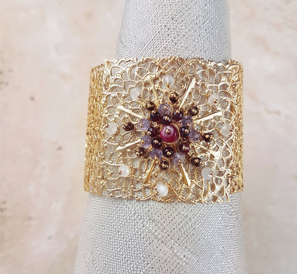Gold Dipped Filigree Cuff Bracelet with Pink, Rose and Red Gemstones in flower pattern