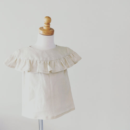 Isobel Blouse in Cream Linen