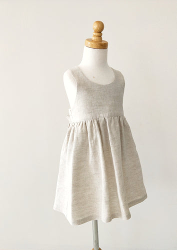 Kinfolk Child natural Linen Pinafore Dress