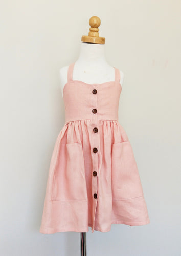 Kinfolk Child Pink Linen Dress with buttons
