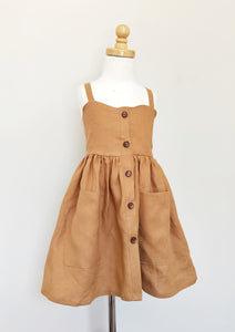 Kinfolk Child Rust Linen Dress Buttons and pockets