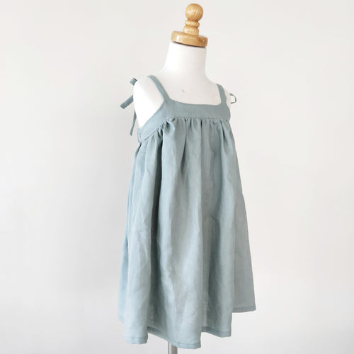 Summer Linen Tie Dress ~ Duck Egg Blue