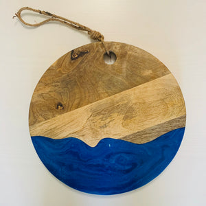 Blue Waves Round Serving Board