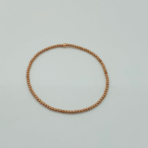 Rose Gold Classic Bead Bracelet 2mm