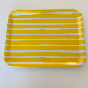 Striped Yellow Rectangle Tray