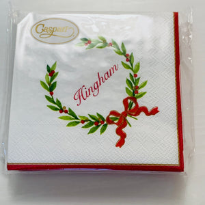 Hingham Holiday Wreath Cocktail Napkins