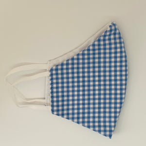 Kids Periwinkle Gingham Facemask