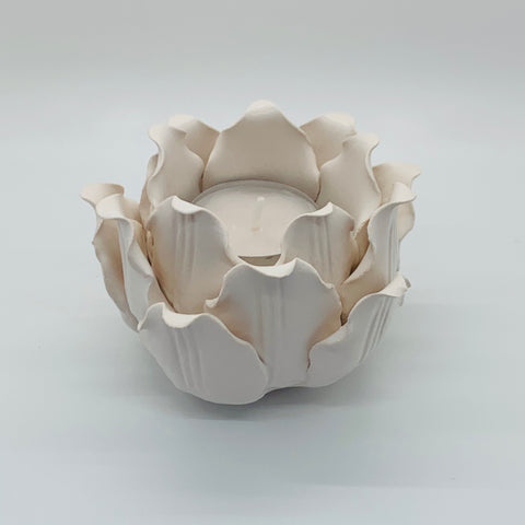 Azalea Tealight Candle Holder _ White