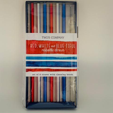 Red, White, Blue Reusable Straws