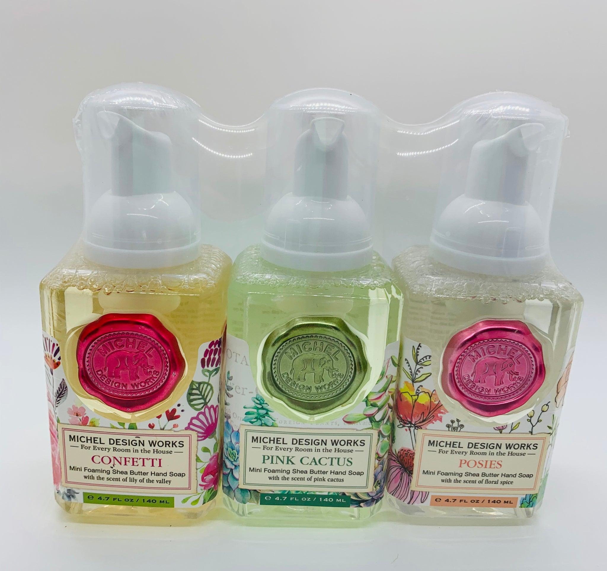 Mini Foaming Hand Soap Set: Confetti, Pink Cactus, Posies