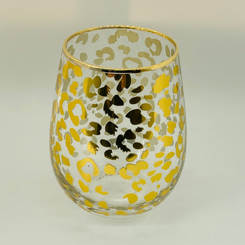 Gold Leopard Stemless Wine Glass