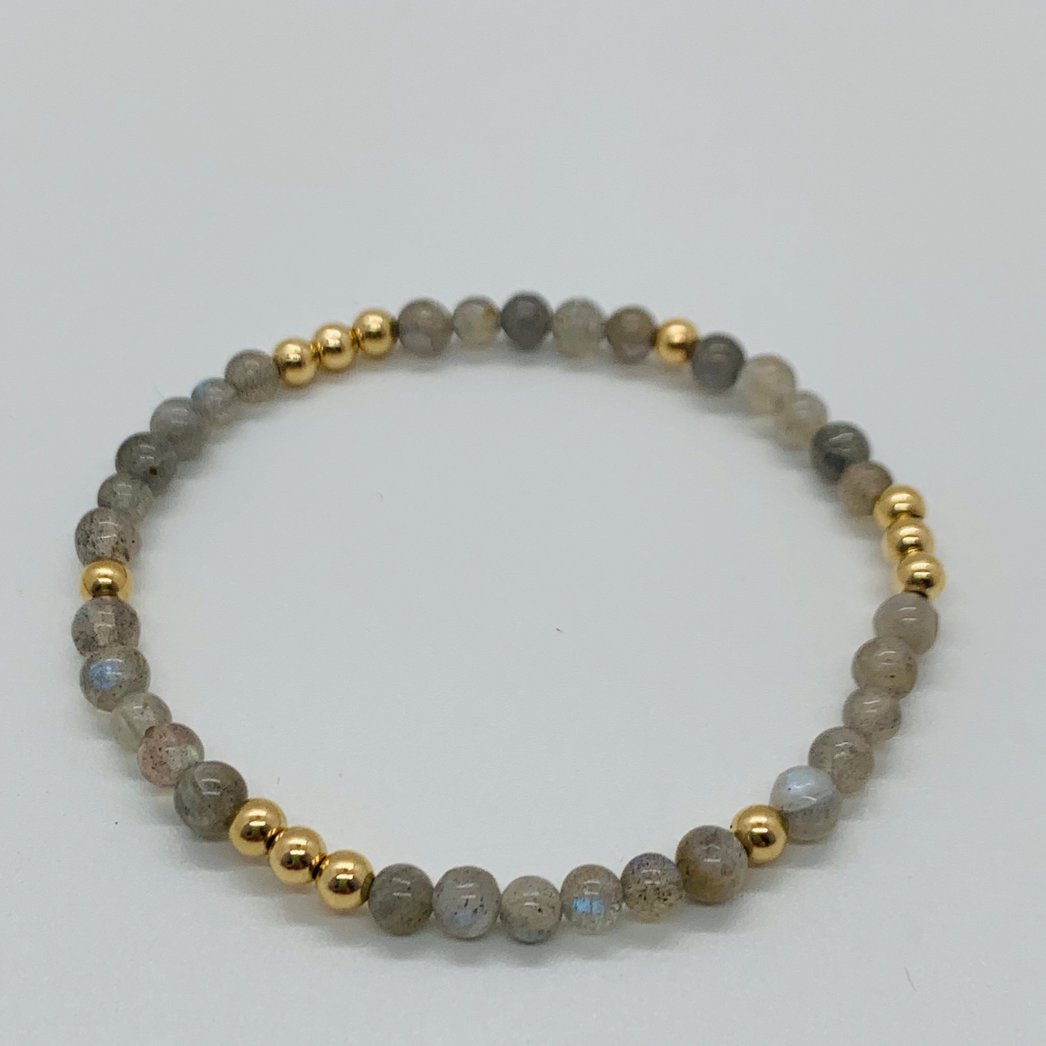 Worthy Labradorite and Gold Bead Bracelet 4mm