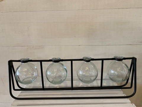 4 Glass Vase (Metal Rack)