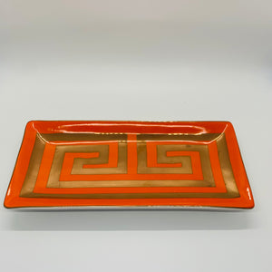 Orange Greek Meander Trinket Tray