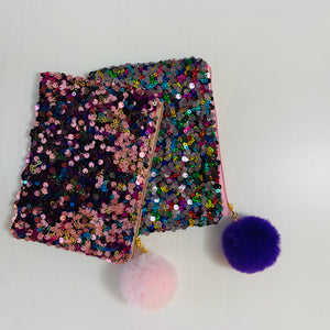 Sequin Pouch with Pom Pom