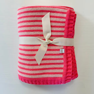 Pink Two-Tone Stripe Baby Blanket