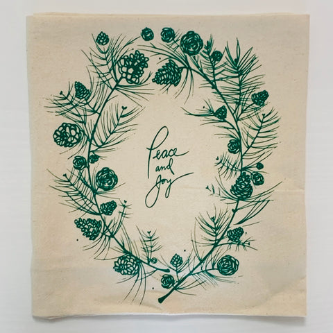 Holiday Tea Towel Peace & Joy (Green)