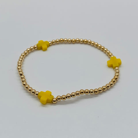 Signature Cross Canary/Gold Bead Bracelet