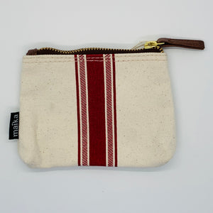 Vintage Stripe Red Canvas Pouch_ Small