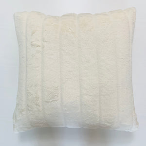 White Channel Fur Pillow
