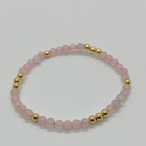 Worthy Rose Quartz and Gold Bead Bracelet 4mm