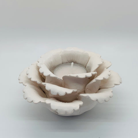 Dahlia Tealight Candle Holder _ White