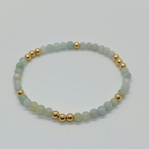 Worthy Aquamarine and Gold Bead Bracelet 4mm