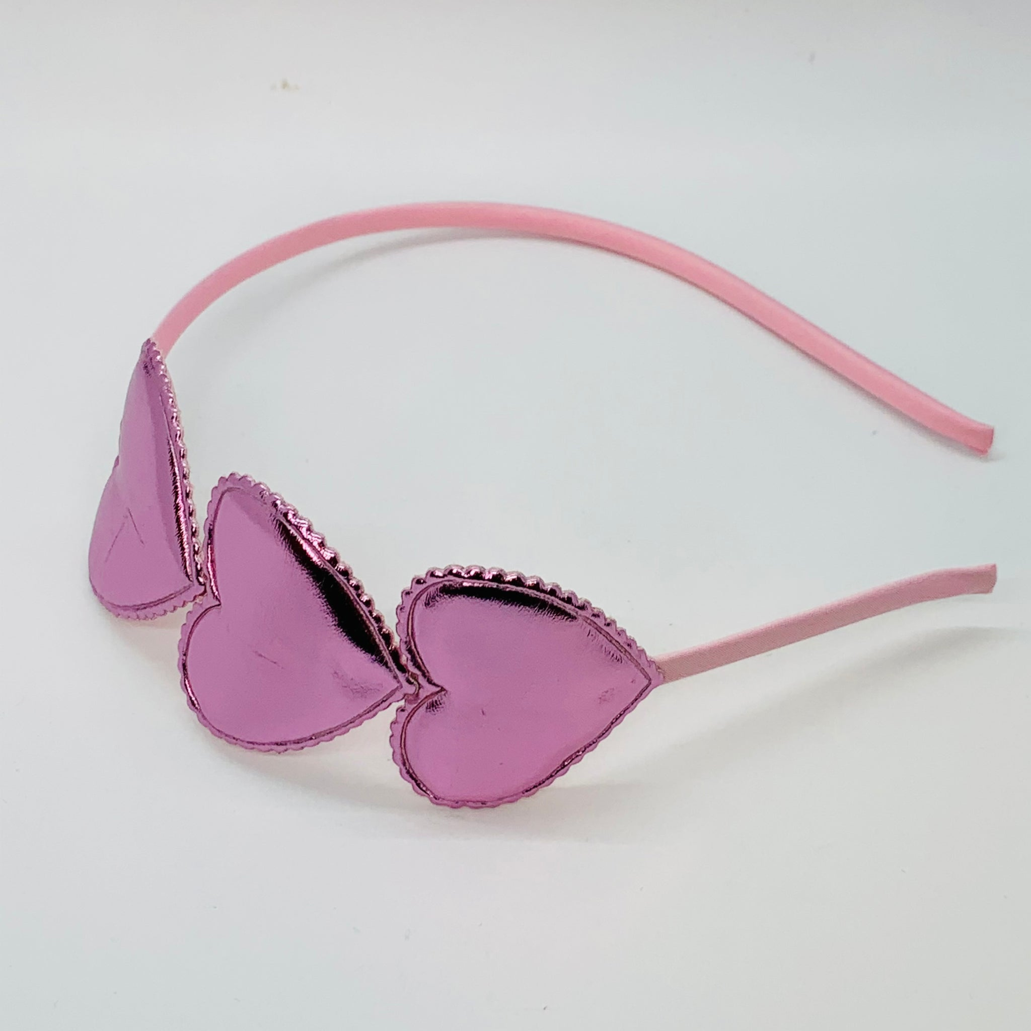Hot Pink Metallic Heart Headband