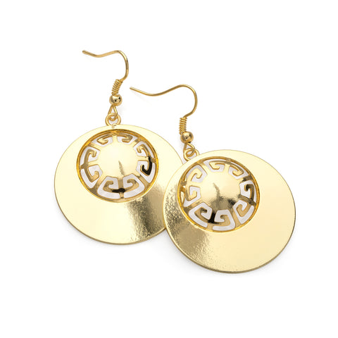 Shiny gold colour round design drop earring - SJ Fashion Outlet JEWELLERY ACCESSORIES FASHION HANDBAGS PURSES
