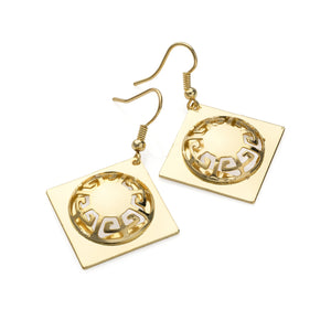 Shiny gold colour square design drop earring Jewellery - SJ Fashion Outlet JEWELLERY ACCESSORIES FASHION HANDBAGS PURSES