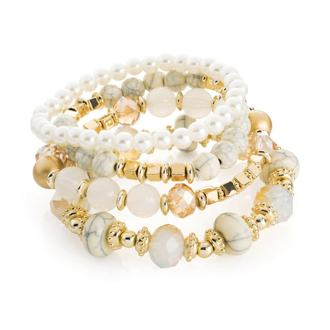 Four piece gold, white marble and cream pearl colour elasticated bracelet set - SJ Fashion Outlet JEWELLERY ACCESSORIES FASHION HANDBAGS PURSES