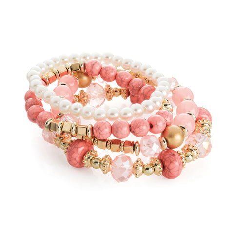 Four piece gold, pink marble and cream pearl colour elasticated bracelet set - SJ Fashion Outlet JEWELLERY ACCESSORIES FASHION HANDBAGS PURSES