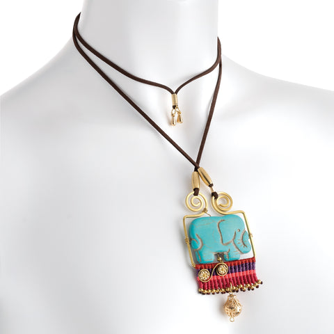 Antique gold colour turquoise effect elephant pin thread necklace