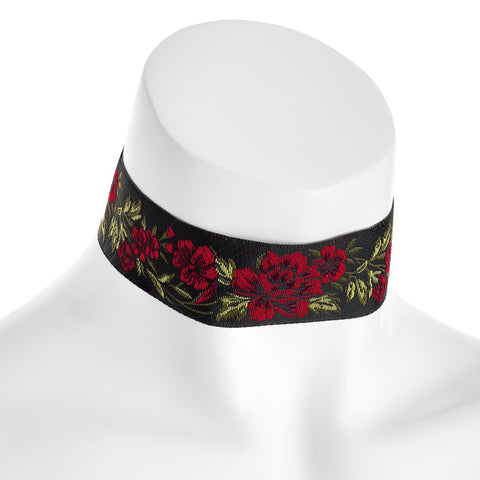 Black and red rose design choker necklace