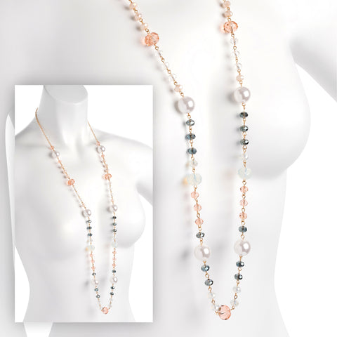 Cream Pearl Effect Bead Necklace - SJ Fashion Outlet JEWELLERY ACCESSORIES FASHION HANDBAGS PURSES