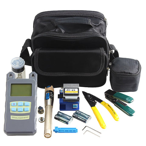 AUA 9 In 1 Fiber Optic FTTH Tool Kit with Fiber Cleaver Optical Power Meter 5km Visual Fault Locator