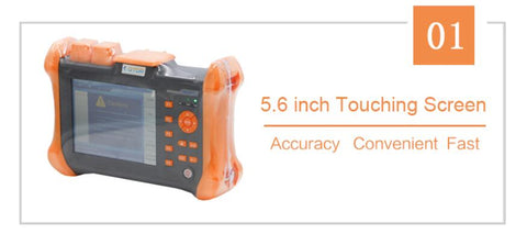 Image of Handheld OTDR TMO-300-SM-B OTDR 1310/1550nm 30/28dB,Integrated VFL, Touch Screen Optical Time Domain Reflectometer VFL