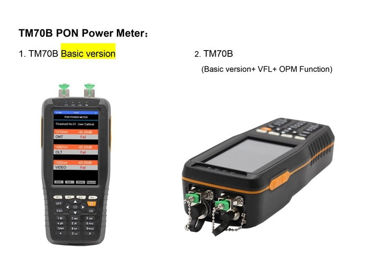 PON Optical Power Meter With 1mw VFL And Optical Power Meter for EPON GPON xPON OLT-ONU 1310/1490/1550nm TM70B-OV1